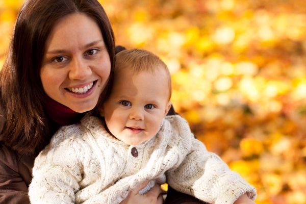 mom and child in autumn